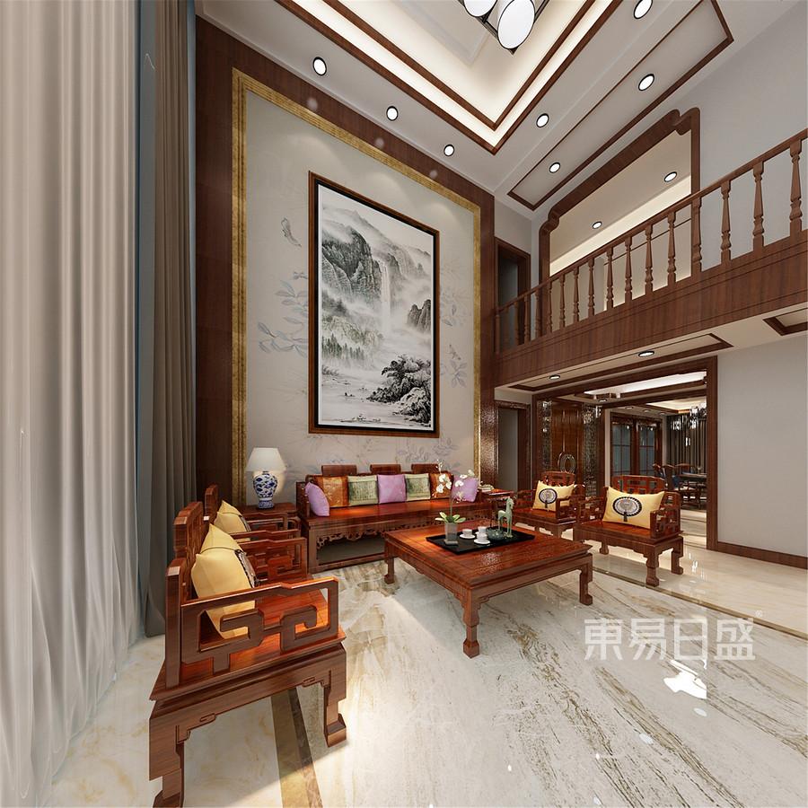 350平米浭阳华府中式风格客厅装修效果图