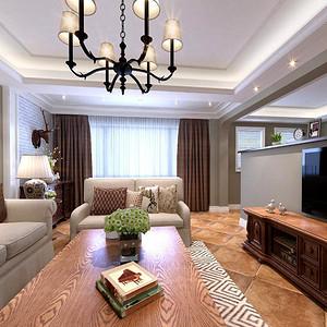 昆明银海白沙郡220平米五居室美式装修风格效果图