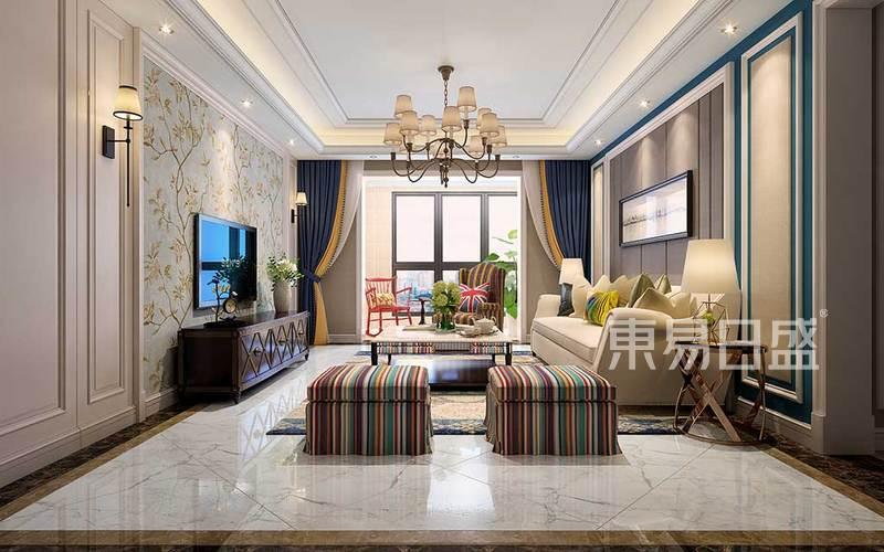 客厅的设计沉稳大气,线条洗练