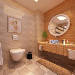 日式风格卫生间效果图