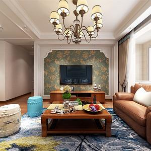 小美式-客厅电视背景墙
