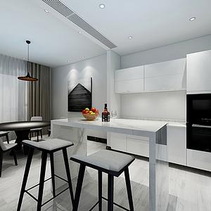 170㎡四居室现代极简风格厨房效果图