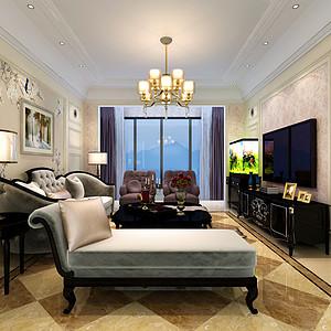 半岛华府110平米三室两厅一厨两卫现代美式案例