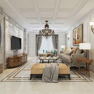 客厅效果图灰色的石材电视背景墙