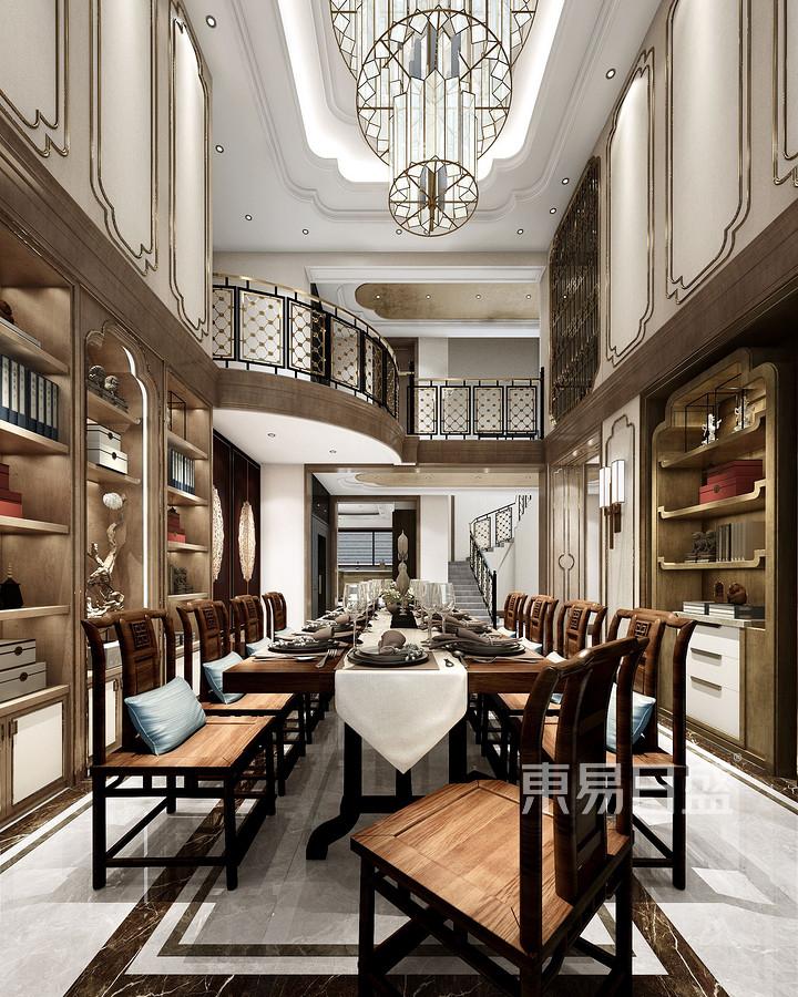 西青别墅新中式风格餐厅装修效果图