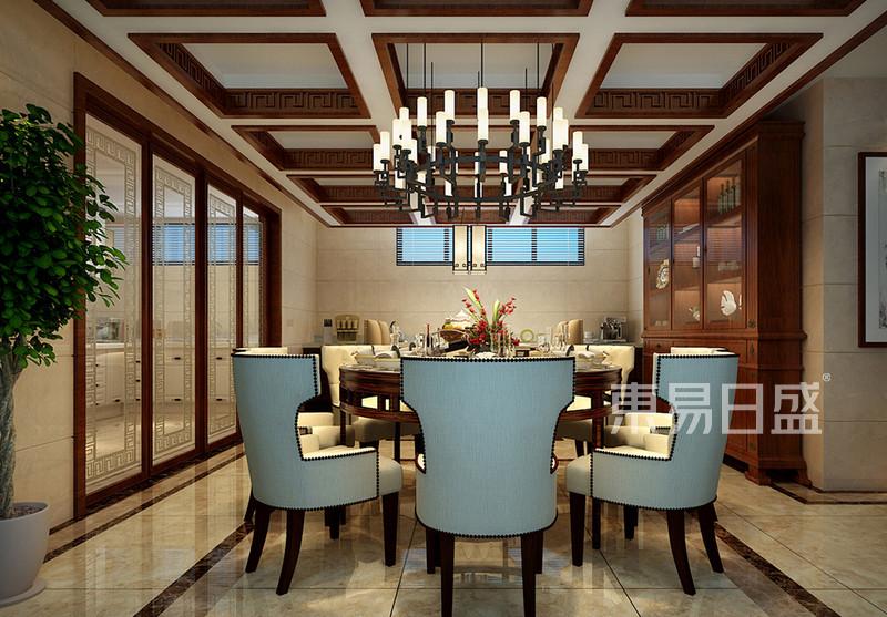 新中式 - 餐厅的天棚的设计单看有些繁琐