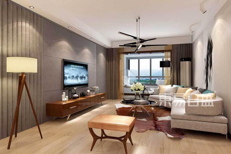 客厅的设计地面部分使用橡木地板