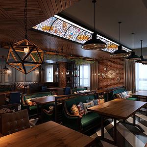 黑马酒吧空间设计-226平米-美式风格装修案例效果图