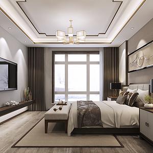 大连新中式装修-卧室