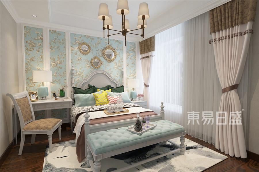 196平南益名士华庭新中式风格卧室装修效果图