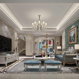 日出印象 简欧风格装修案例 200平米 复式楼装饰设计