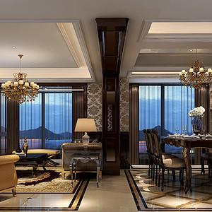 鳌江下桥小区150平新古典风格设计装修效果图