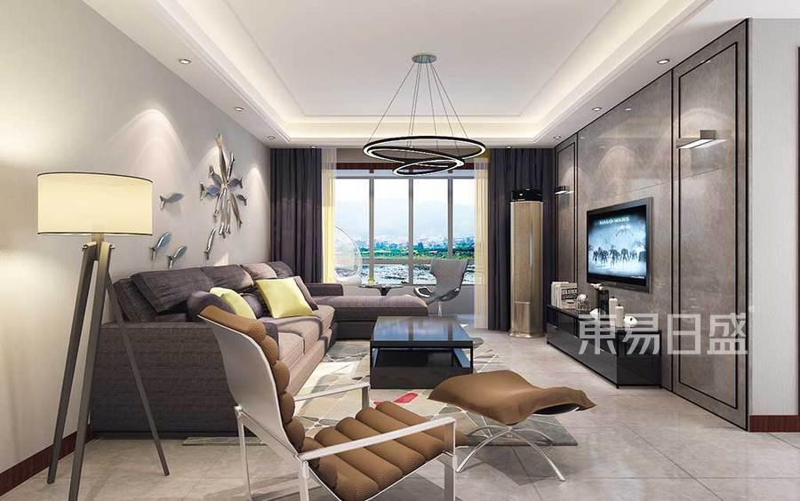 客厅的设计地面使用米色地砖