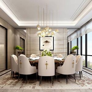 香山美墅果岭-新中式-餐厅装修效果图