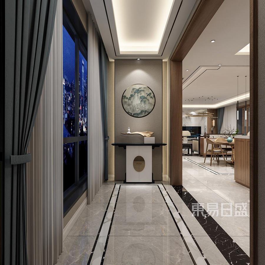 常平蔚蓝城邦新中式玄关装修效果图图片