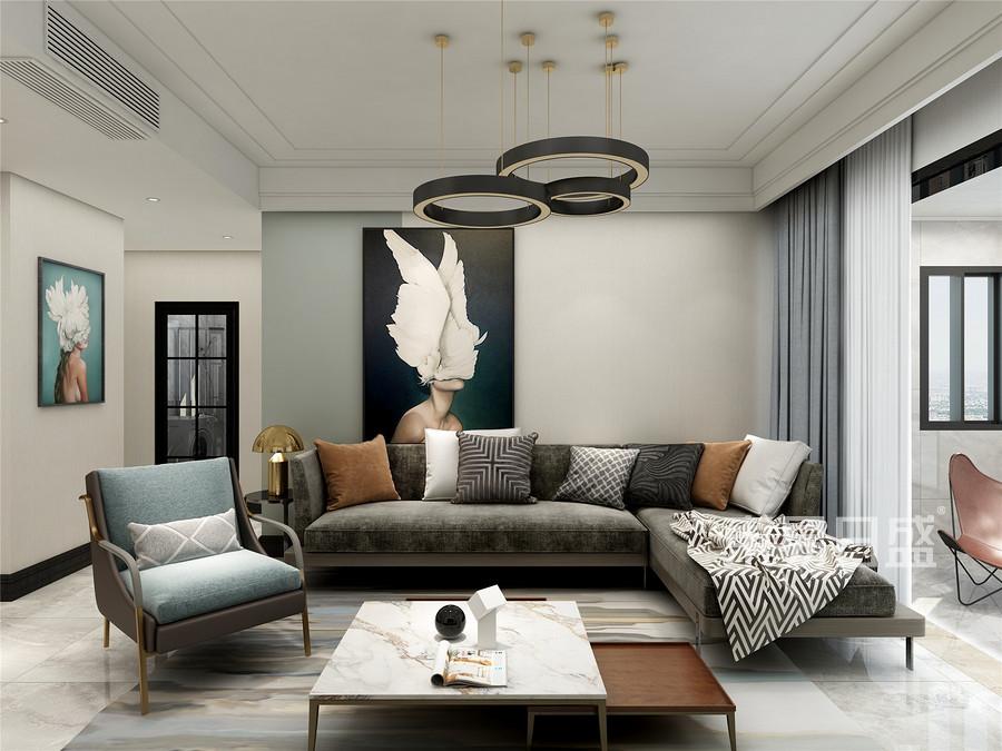 115平米恒泰悦憬府极简风格客厅装修效果图