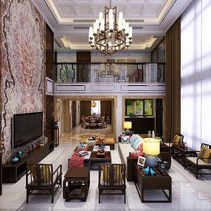 香山美墅-新中式-别墅客厅装修效果图