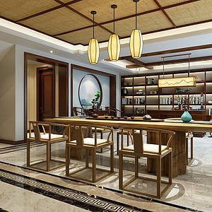 新中式风格-茶室-装修效果图