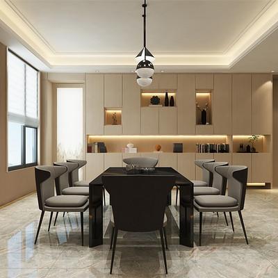 华润悦府三居室现代简约餐厅装修效果图