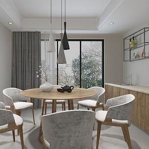 136㎡四居室现代简约风格餐厅效果图