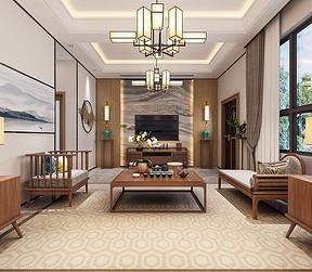 黄江湖山大境别墅新中式客厅装修效果图