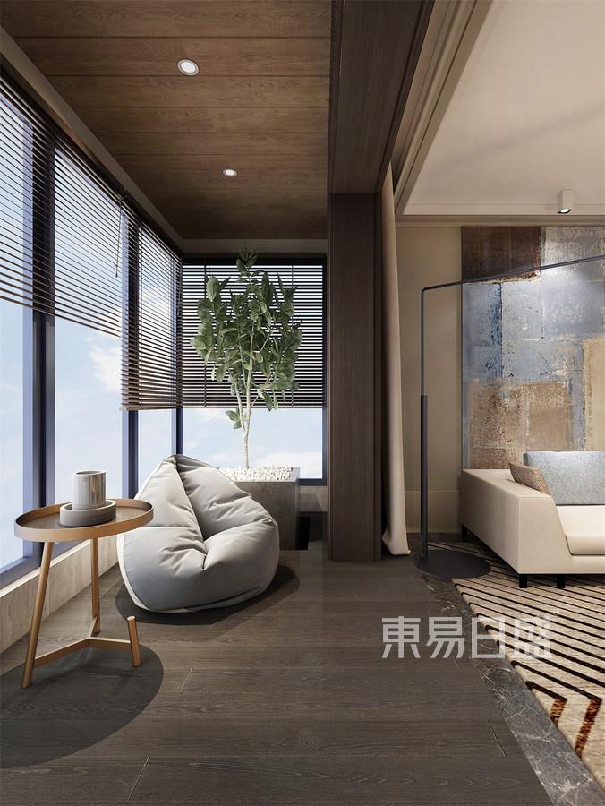 四居室-现代简约-客厅阳台-效果图