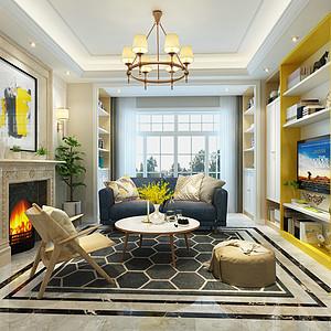 新中式风格-起居厅-装修效果图