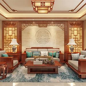 中式-客厅沙发背景墙