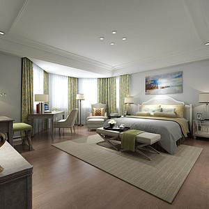 金海岸花园五房美式卧室装修效果图