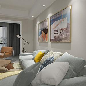 136㎡四居室现代简约风格客厅效果图