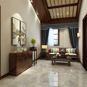 新中式风格-三层过厅-装修效果图