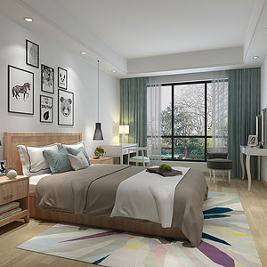 136㎡四居室现代简约风格次卧效果图