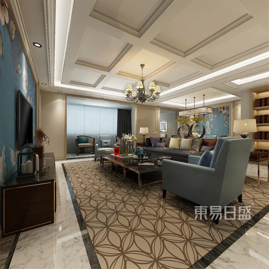 144平米建投熙湖新古典风格客厅装修效果图