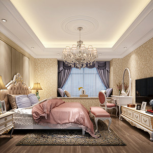 简欧风格 卧室装修效果图 四房两厅