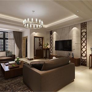 红星国际新中式风格客厅装修效果图