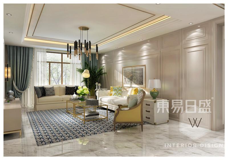 中海复兴九里轻奢美式客厅装修效果图图片