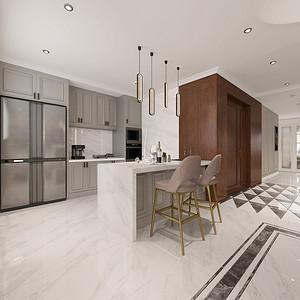 美式轻奢风格厨房装修效果图