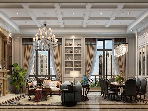 东方福邸欧式古典风格175㎡效果图装修设计理念