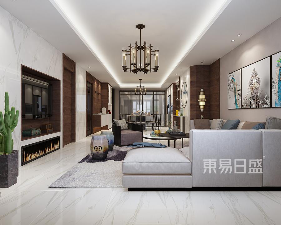 御景华府190平四居室客厅新中式装修效果图