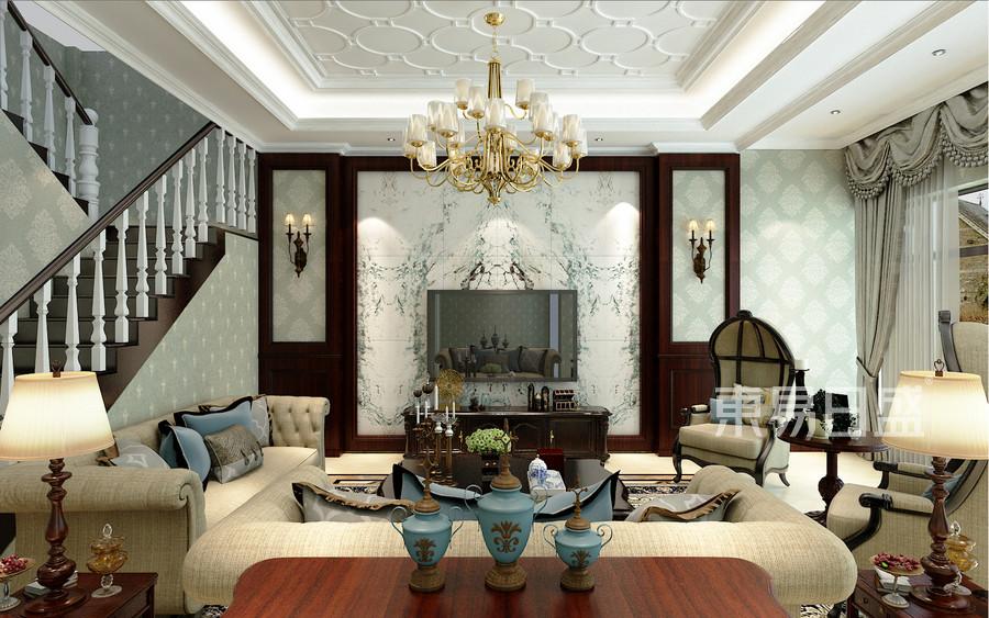 碧桂园翡翠郡美式风格客厅装修案例效果图