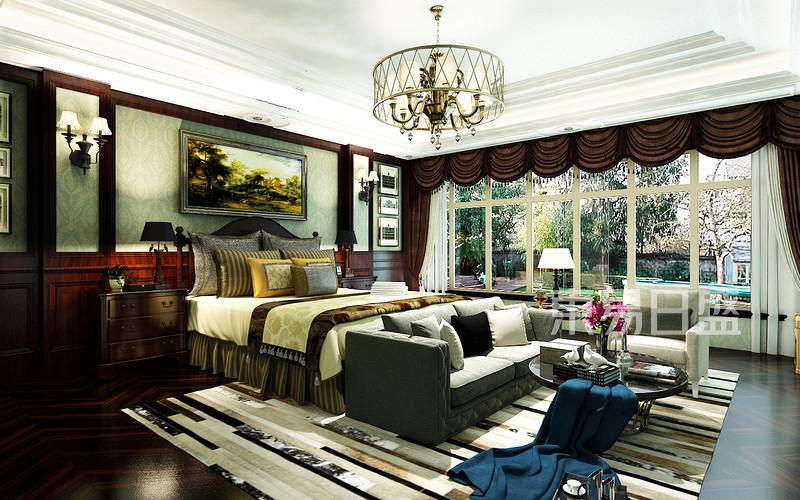 碧桂园翡翠郡美式风格卧室装修案例效果图