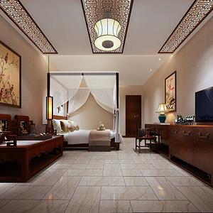 九号公馆-新中式-卧室装修效果图