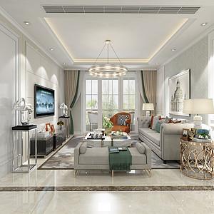 汇泉西悦城90平米三室两厅简欧风格装修效果图