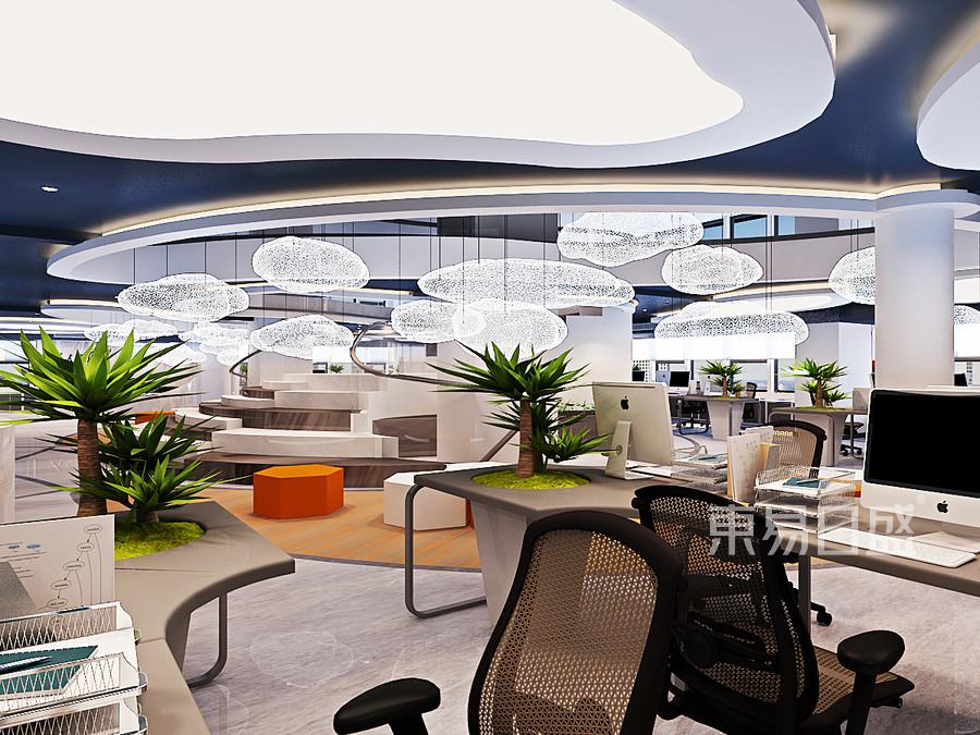 会所-现代简约-一层办公区-效果图