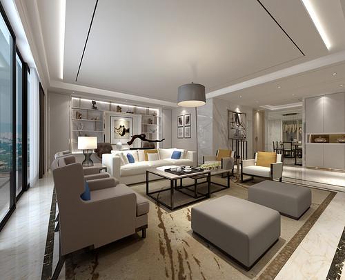 珑御府 现代简约装修效果图 180平米 三室两厅装饰设计