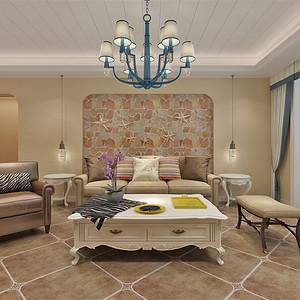 地中海风格-客厅沙发背景墙