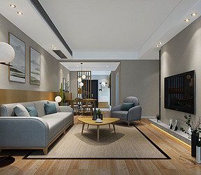 100㎡三居室日式简约风格客厅效果图