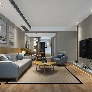 龙城国际100㎡三居室日式简约风格