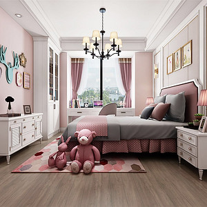 雅居乐滨江国际195㎡美式轻奢卧室