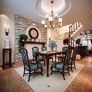 美式乡村风格 餐厅装修效果图 别墅装
